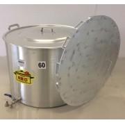Caldeirão Cervejeiro 127 litros - 60 cm - com Registro e Fundo Falso - Alumínio ABC