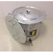 Caldeirão Cervejeiro 32,5 L - 36 cm - com Registro, Fundo Falso e Válvula Fly Sparge - Alumínio Universal