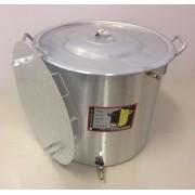 Caldeirão Cervejeiro 45,2 L - 40 cm - com Registro, Fundo Falso e Válvula Fly Sparge - Alumínio Universal