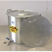Caldeirão Cervejeiro 68,3 litros - 45 cm - com Registro e Fundo Falso - Alumínio ABC