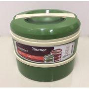 Marmita Térmica Verde 2 andares - 1 sem divisória e 1 com 2 divisórias - Taumer
