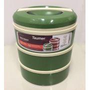 Marmita Térmica Verde 3 andares - 1 sem divisória, 1 com 2 divisórias e 1 com 3 divisórias - Taumer
