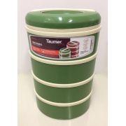 Marmita Térmica Verde 4 andares - 2 sem divisória, 1 com 2 divisórias e 1 com 3 divisórias - Taumer