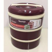 Marmita Térmica Vinho 3 andares - 1 sem divisória,  1 com 2 divisórias e 1 com 3 divisórias - Taumer