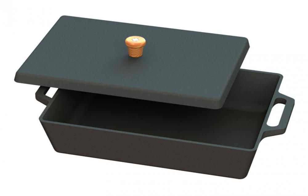 Assadeira de Ferro Retangular com Tampa 32,5 x 23 cm. - CB  - Lojão de Ofertas