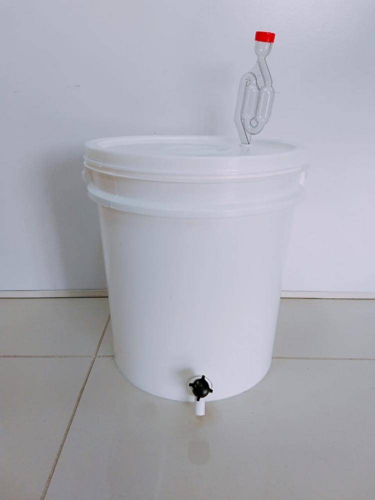 Balde Fermentador 12,5 Litros com Torneira e Airlock  - Lojão de Ofertas