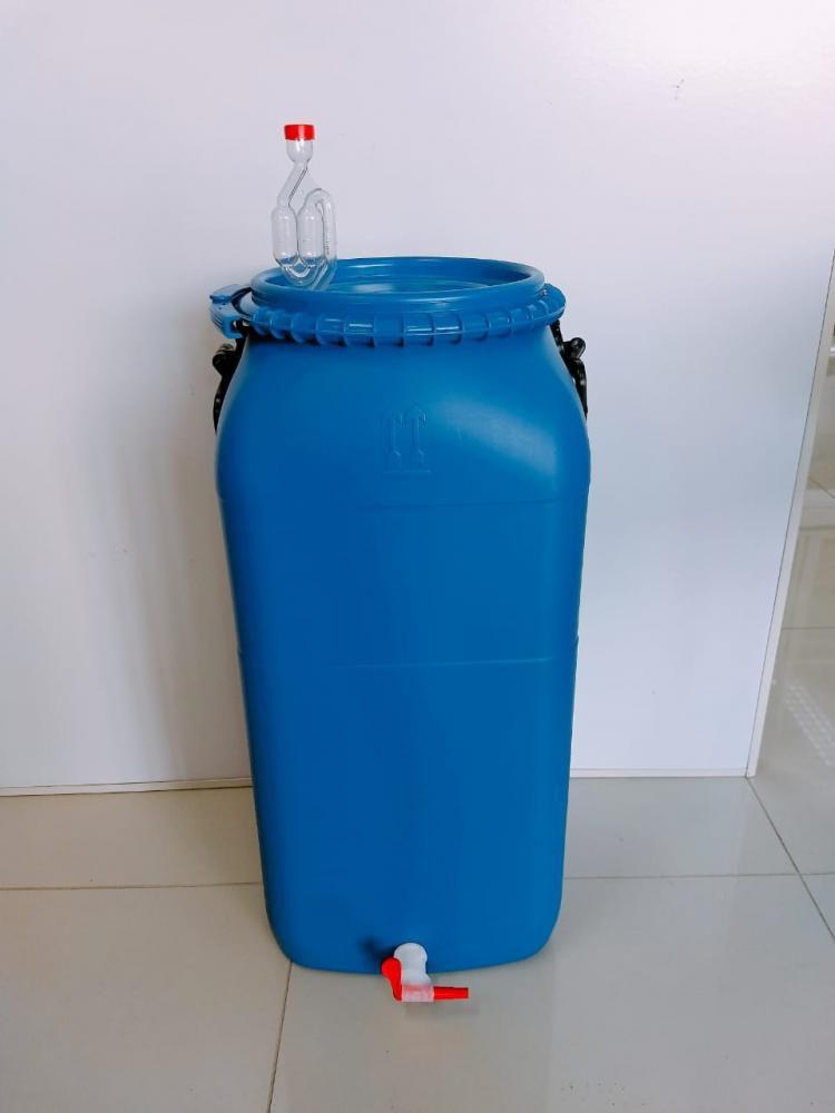 Bombona Fermentadora Completa 60L (com Torneira Redutora de Sedimentos, Airlock e Anel de Silicone)  - Lojão de Ofertas