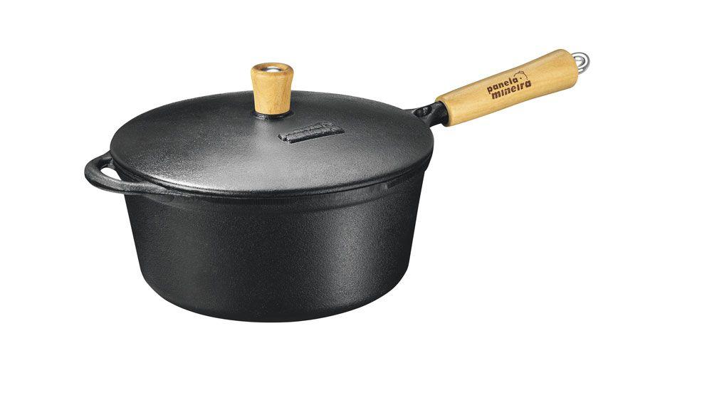 Caçarola 21 cm de Ferro - 2,2L - Cabo Madeira - Panela Mineira  - Lojão de Ofertas