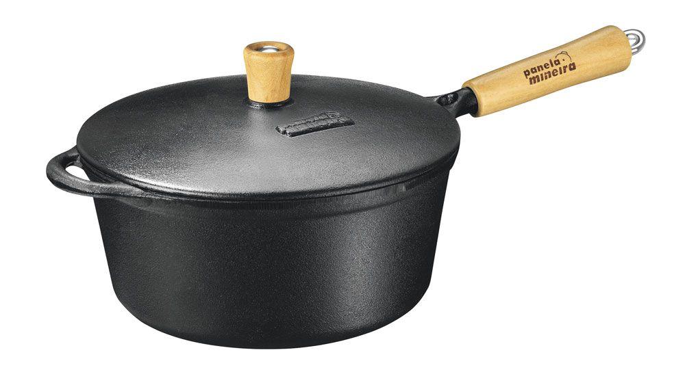 Caçarola 25 cm de Ferro - 4L - Cabo Madeira - Panela Mineira  - Lojão de Ofertas