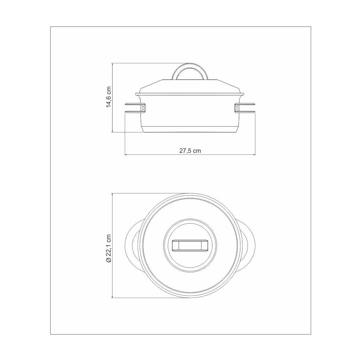 Caçarola Inox 20 cm 2,9 litros - linha Solar - Tramontina  - Lojão de Ofertas