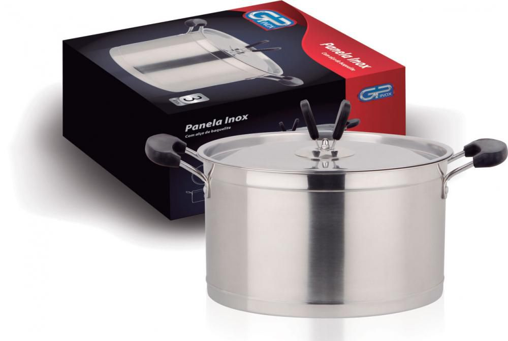 Caçarola Inox 20 cm - 3,3 litros - GP Inox  - Lojão de Ofertas
