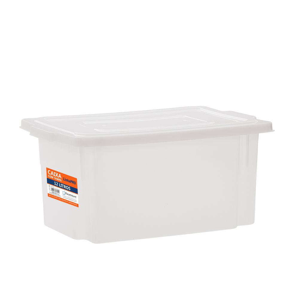 Caixa 12 litros com Tampa 25 x 37 x 18 cm - Paramount  - Lojão de Ofertas