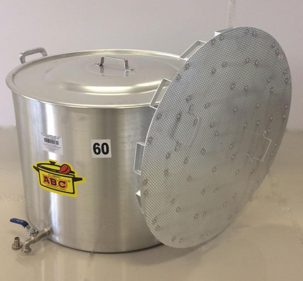 Caldeirão Cervejeiro 127 litros - 60 cm - com Registro e Fundo Falso - Alumínio ABC  - Lojão de Ofertas