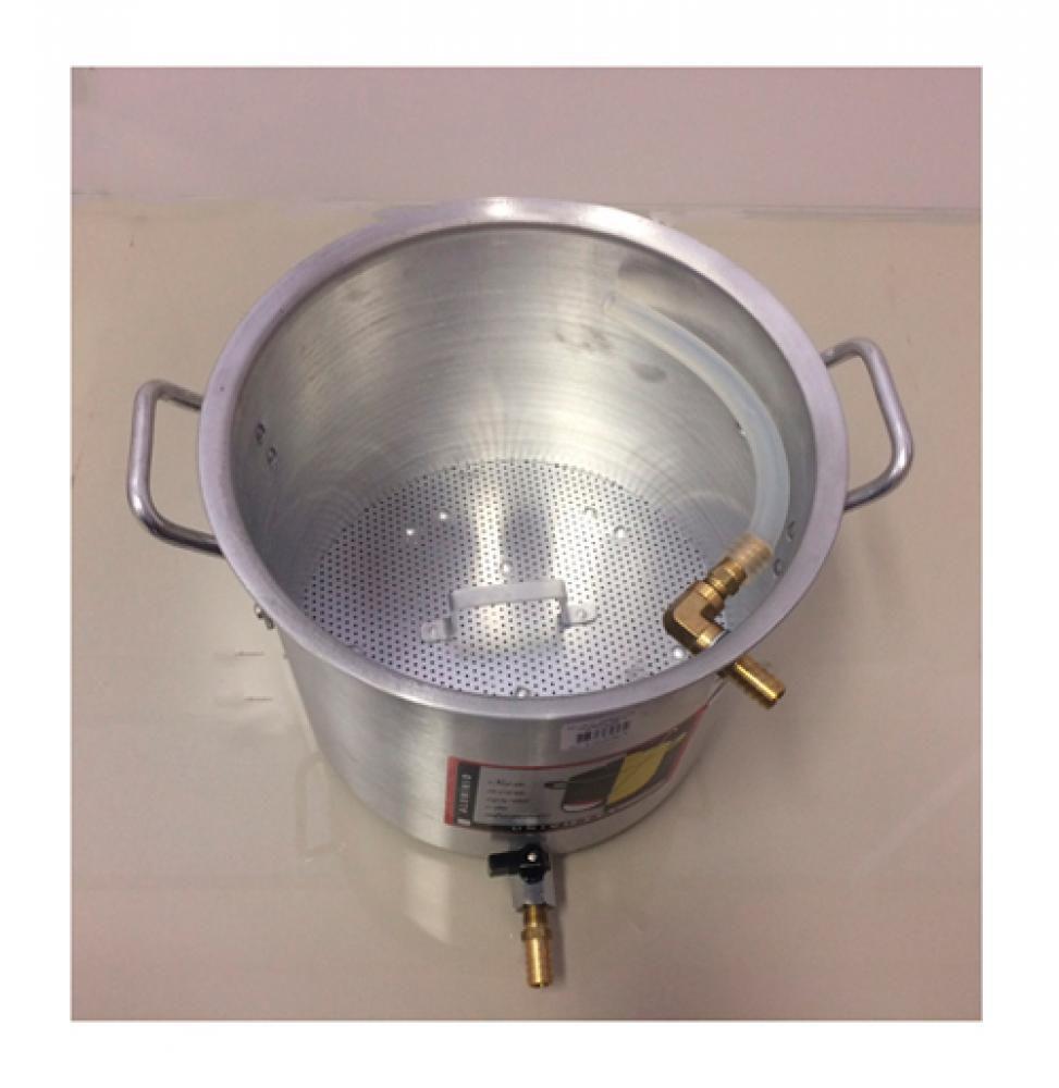 Caldeirão Cervejeiro 12,7 L - 26 cm - com Registro, Fundo Falso e Válvula Fly Sparge - Alumínio Universal   - Lojão de Ofertas