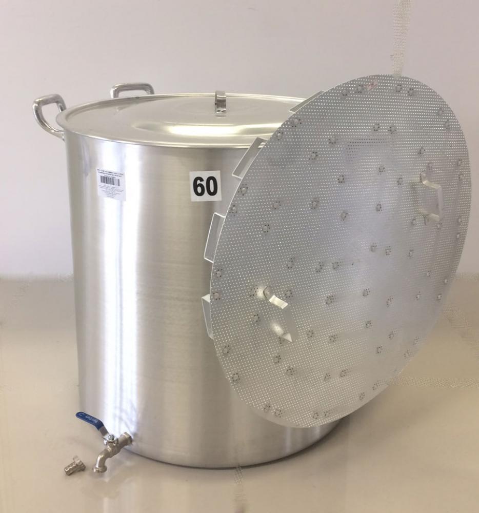 Caldeirão Cervejeiro 170 litros - 60 cm - com Registro e Fundo Falso - Alumínio ABC  - Lojão de Ofertas