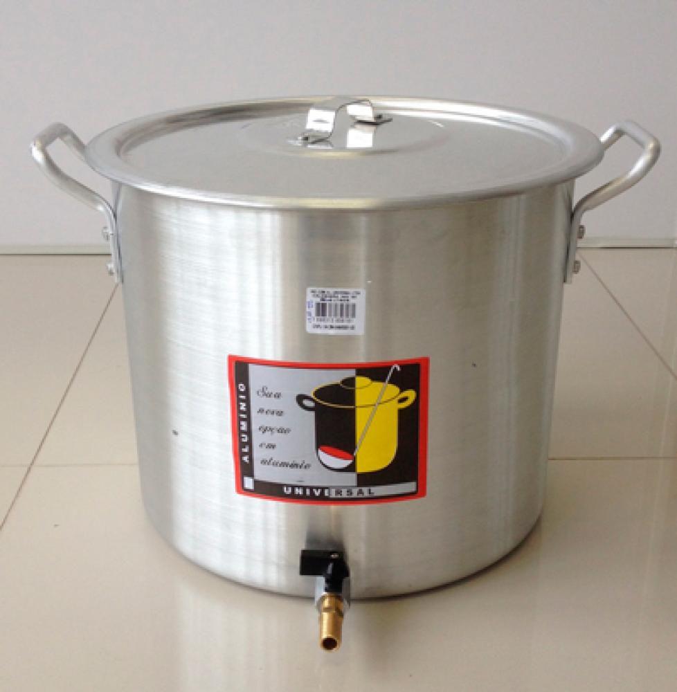 Caldeirão Cervejeiro 18,3 litros - 30 cm - com Registro - Alumínio Universal  - Lojão de Ofertas