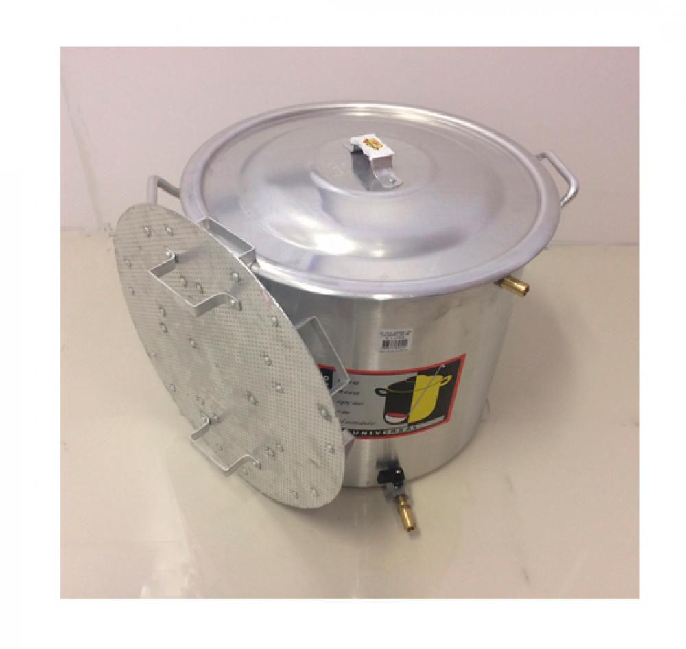 Caldeirão Cervejeiro 18,3 L - 30 cm - com Registro, Fundo Falso e Válvula Fly Sparge - Alumínio Universal  - Lojão de Ofertas