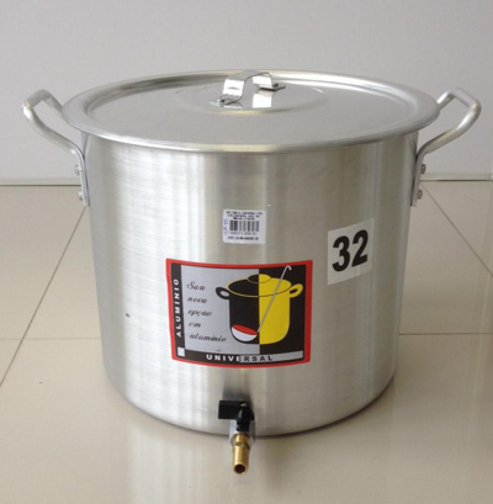 Caldeirão Cervejeiro 22,5 litros - 32 cm - com Registro - Alumínio Universal  - Lojão de Ofertas