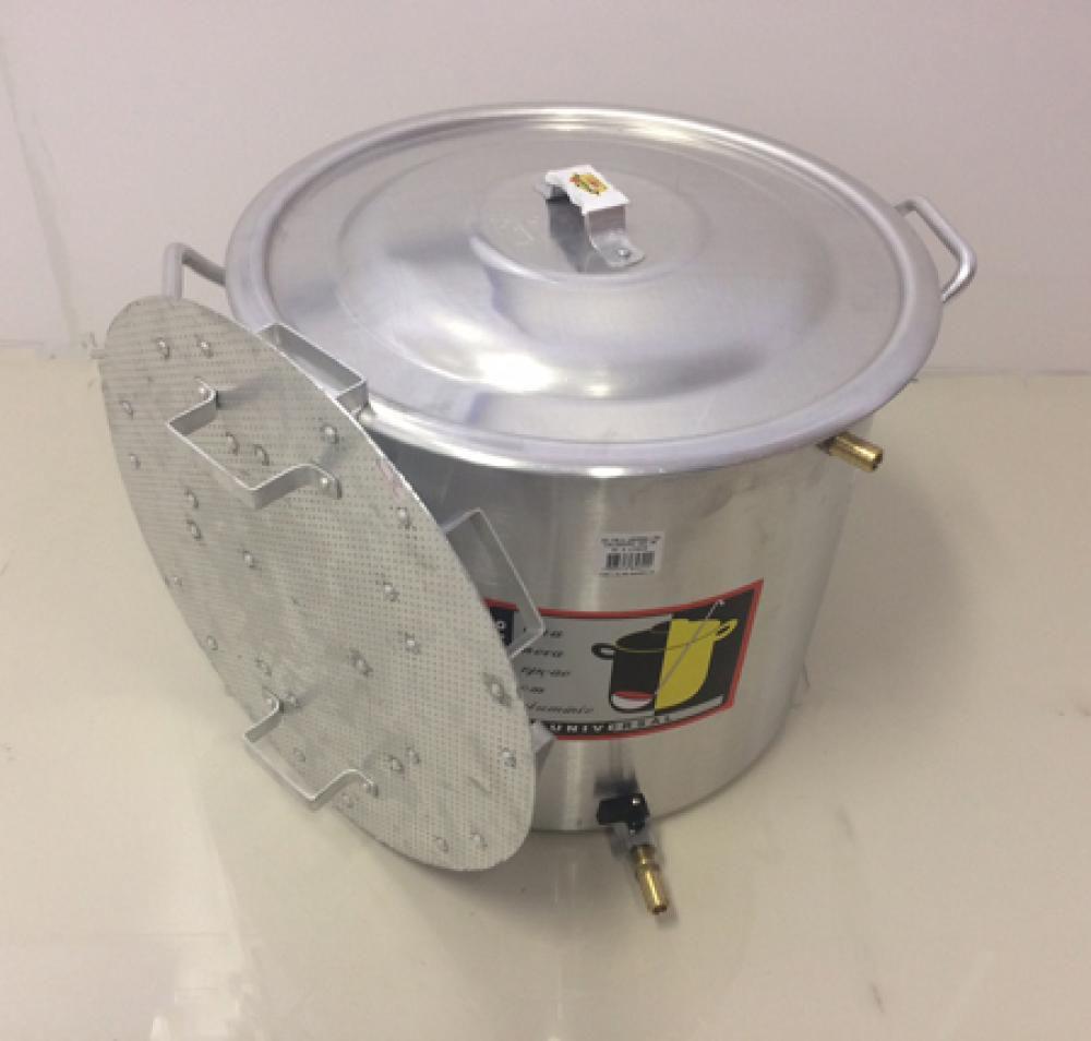 Caldeirão Cervejeiro 22,5 L - 32 cm - com Registro, Fundo Falso e Válvula Fly Sparge - Alumínio Universal  - Lojão de Ofertas