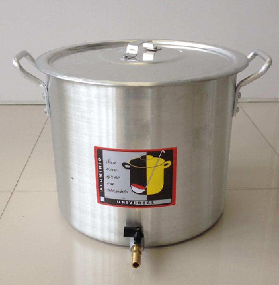 Caldeirão Cervejeiro 27,2 litros - 34 cm - com Registro - Alumínio Universal  - Lojão de Ofertas