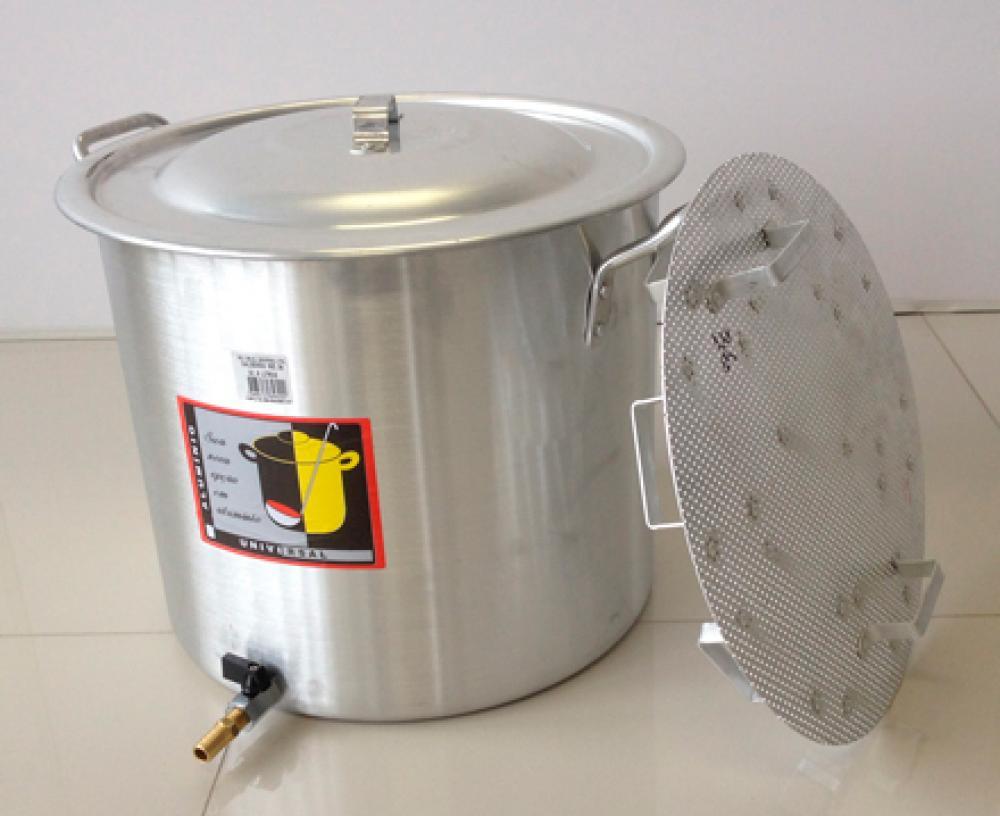 Caldeirão Cervejeiro 27,2 litros - 34 cm - com Registro e Fundo Falso - Alumínio Universal  - Lojão de Ofertas