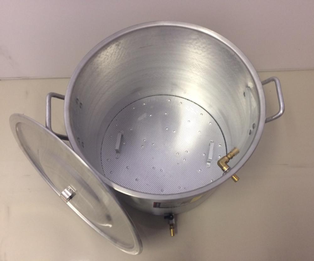 Caldeirão Cervejeiro 27,2 L - 34 cm - com Registro, Fundo Falso e Válvula Fly Sparge - Alumínio Universal  - Lojão de Ofertas
