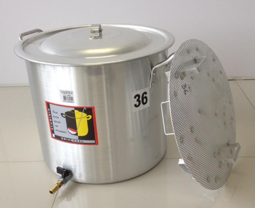 Caldeirão Cervejeiro 32,5 litros - 36 cm - com Registro e Fundo Falso - Alumínio Universal  - Lojão de Ofertas