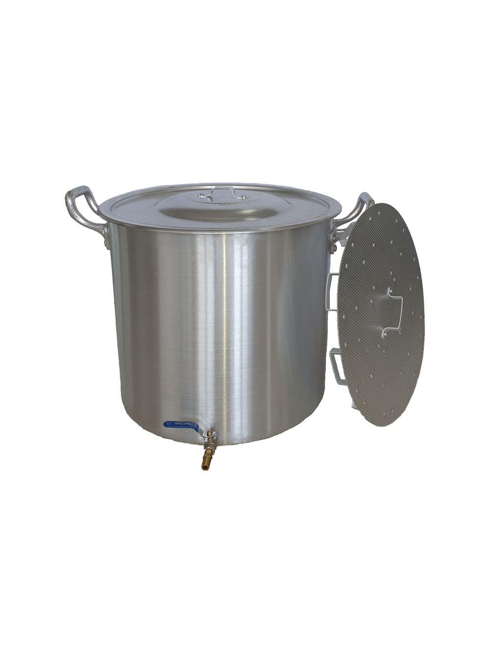 Caldeirão Cervejeiro 38,5 litros - 38 cm - com Registro e Fundo Falso - Alumínio ABC  - Lojão de Ofertas