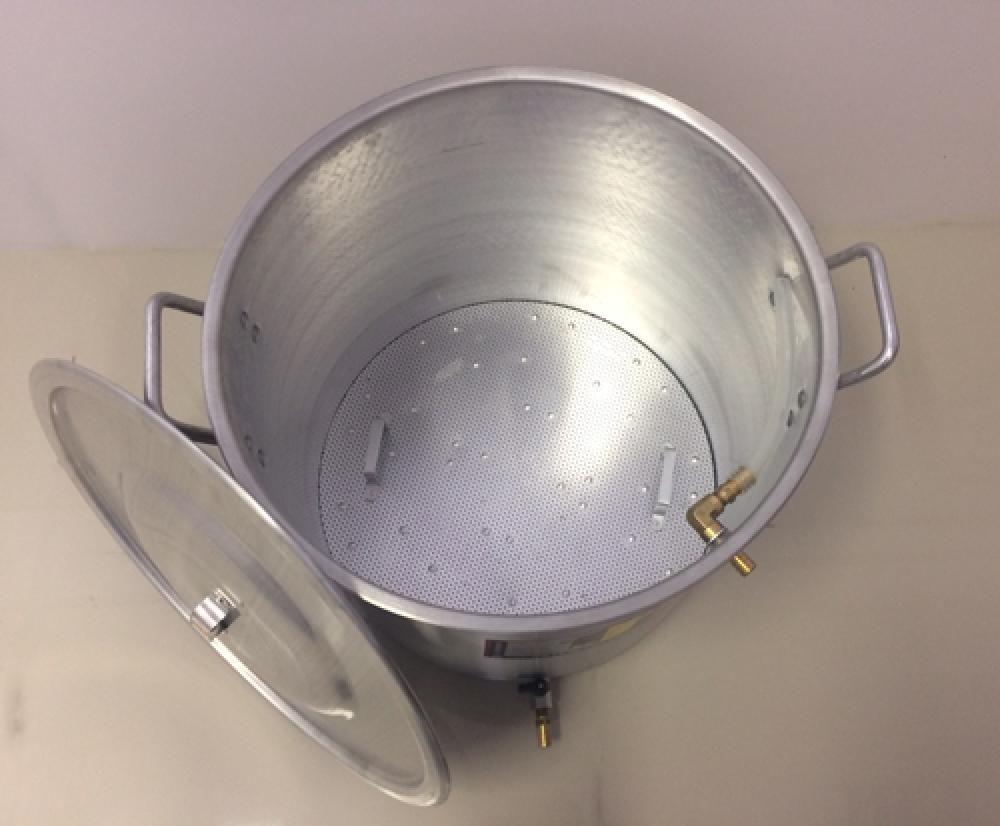 Caldeirão Cervejeiro 38,5 L - 38 cm - com Registro, Fundo Falso e Válvula Fly Sparge - Alumínio Universal  - Lojão de Ofertas