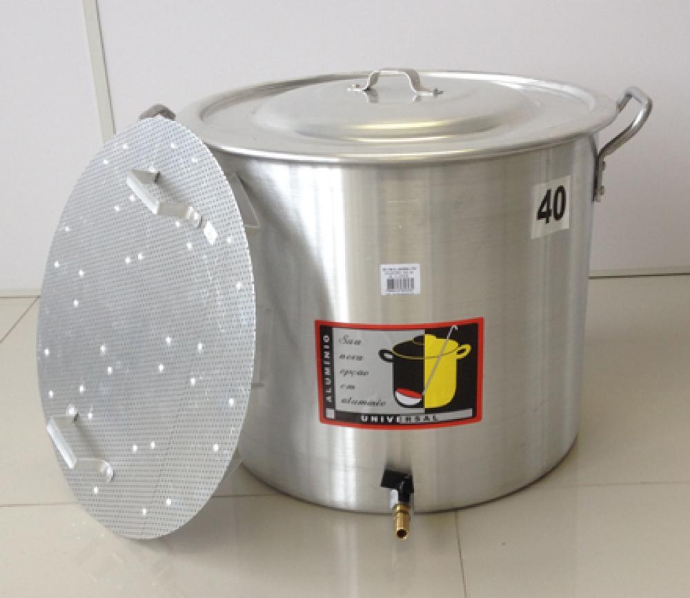 Caldeirão Cervejeiro 45,2 litros - 40 cm - com Registro e Fundo Falso - Alumínio Universal  - Lojão de Ofertas