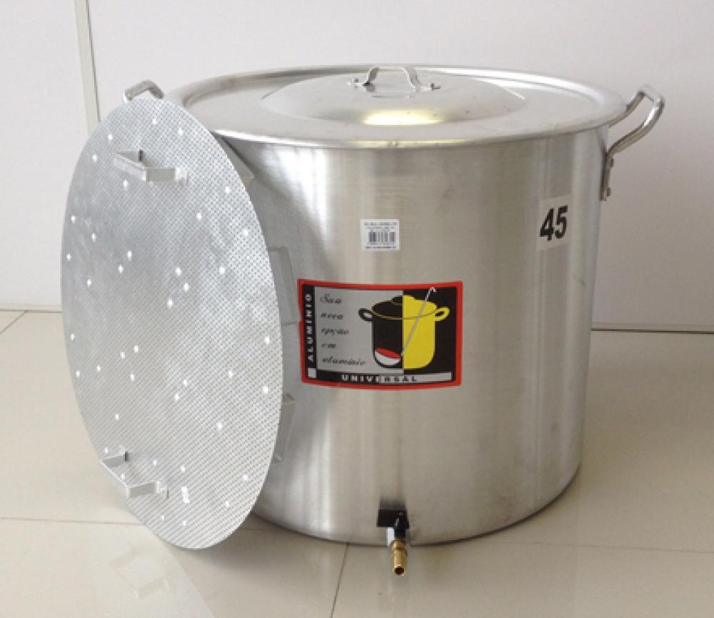 Caldeirão Cervejeiro 68,3 litros - 45 cm - com Registro e Fundo Falso - Alumínio Universal  - Lojão de Ofertas