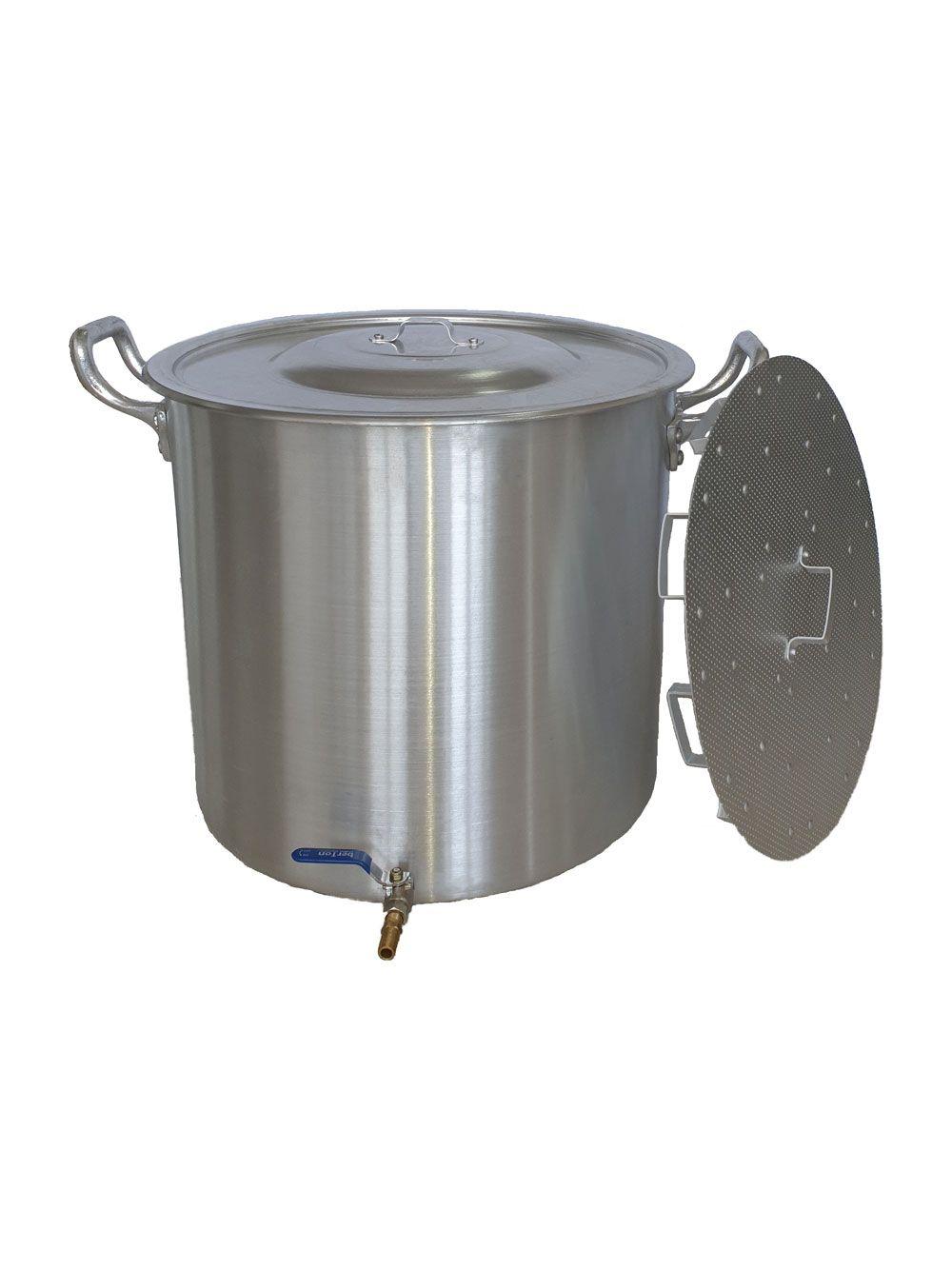 Caldeirão Cervejeiro 94,2 litros - 50 cm - com Registro e Fundo Falso - Alumínio ABC  - Lojão de Ofertas