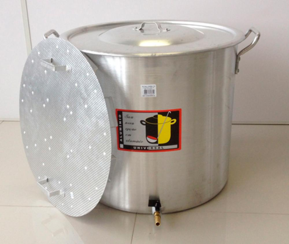 Caldeirão Cervejeiro 94,2 litros - 50 cm - com Registro e Fundo Falso - Alumínio Universal  - Lojão de Ofertas
