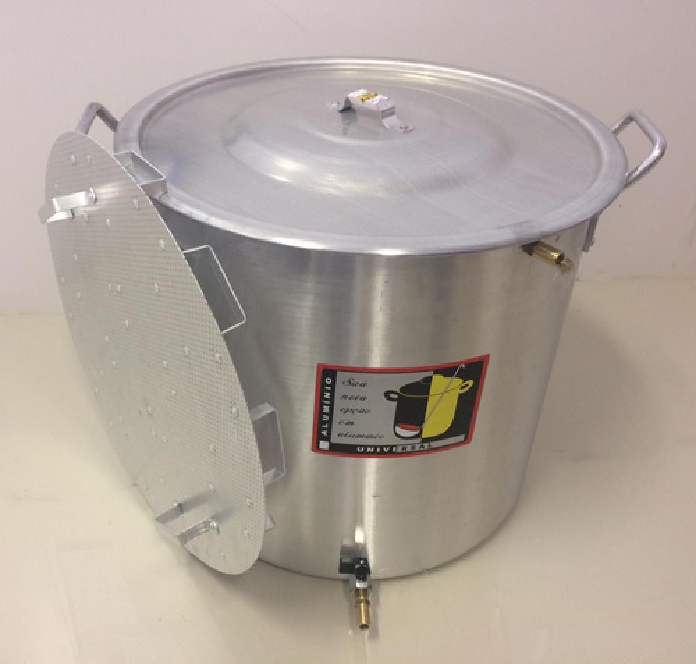 Caldeirão Cervejeiro 94,2 L - 50 cm - com Registro, Fundo Falso e Válvula Fly Sparge - Alumínio Universal  - Lojão de Ofertas
