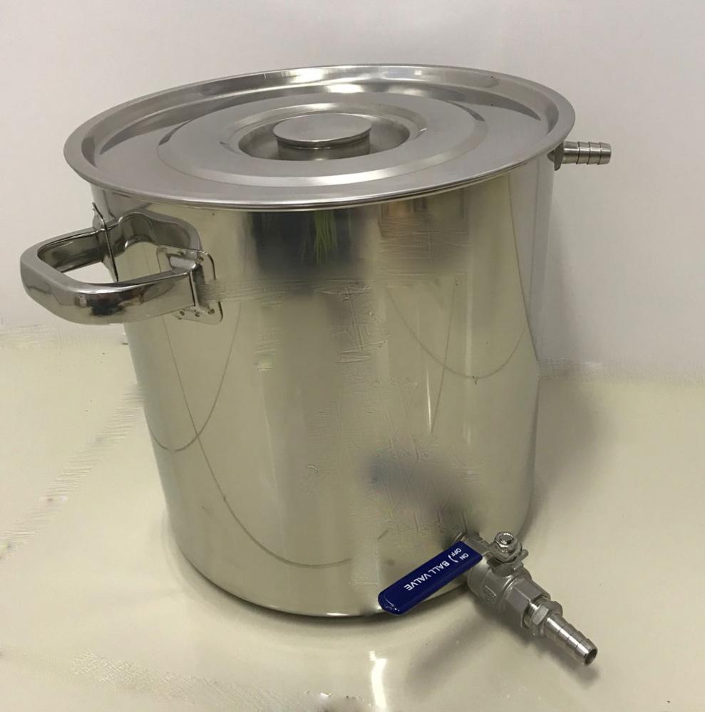 Caldeirão Cervejeiro Inox para Mostura - 30 cm - 20 Litros - com Registro, Fundo Falso e Fly Sparge  - Lojão de Ofertas