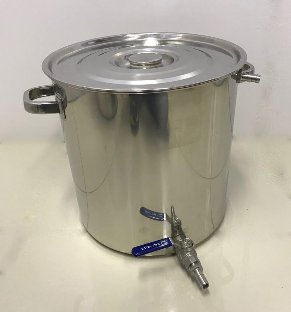 Caldeirão Cervejeiro Inox para Mostura - 35 cm - 32 Litros - com Registro, Fundo Falso e Fly Sparge  - Lojão de Ofertas