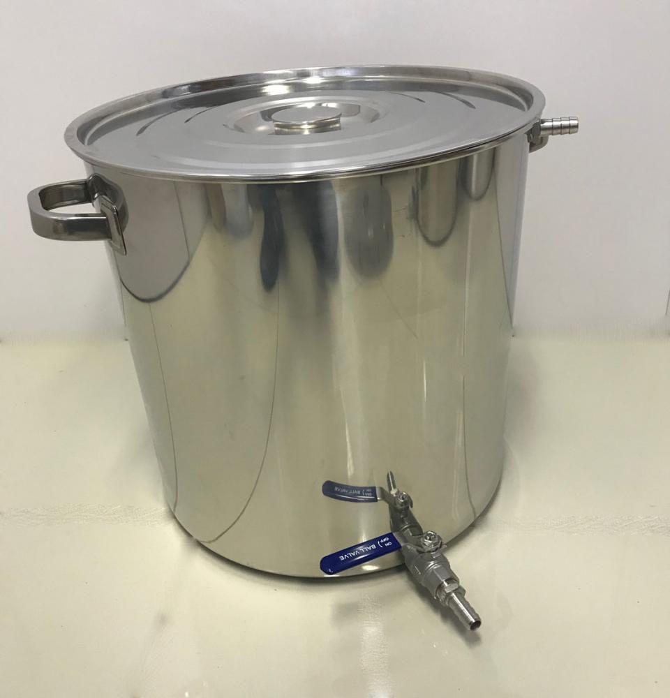 Caldeirão Cervejeiro Inox para Mostura - 40 cm - 48 Litros - com Registro, Fundo Falso e Fly Sparge  - Lojão de Ofertas