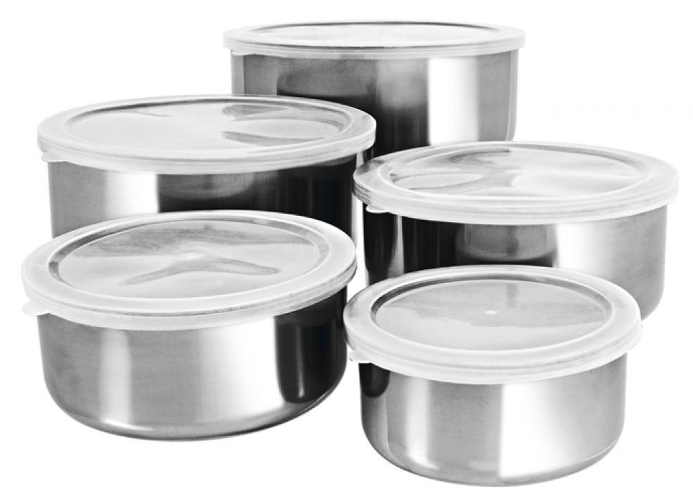 Conjunto de 5 Tigelas Inox - Tampa Plástica - Hercules  - Lojão de Ofertas
