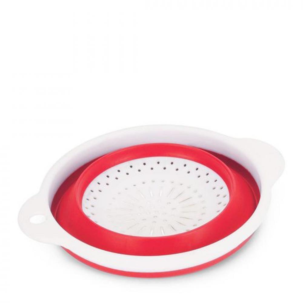 Escorredor Retrátil 23,5 cm Redondo - Vermelho - Ricaelle  - Lojão de Ofertas