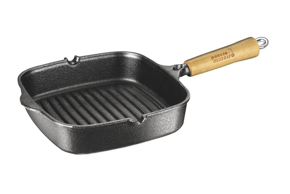 Frigideira Cook Grill 23,5 x 23,5 cm - Cabo Madeira - Panela Mineira  - Lojão de Ofertas