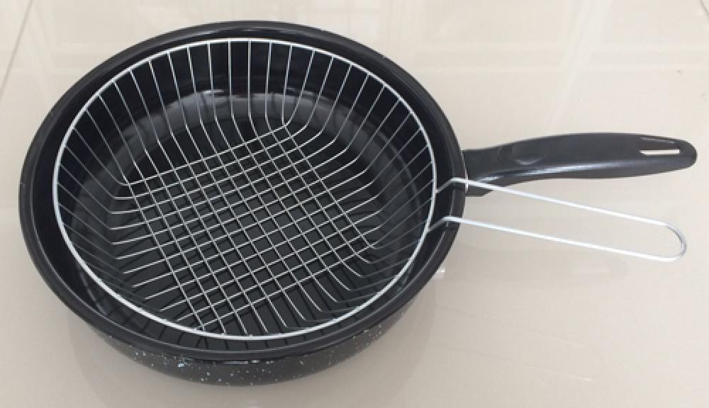 Fritadeira Esmaltada 26 cm - com Cesto - 4 litros - Esmaltados Silva  - Lojão de Ofertas