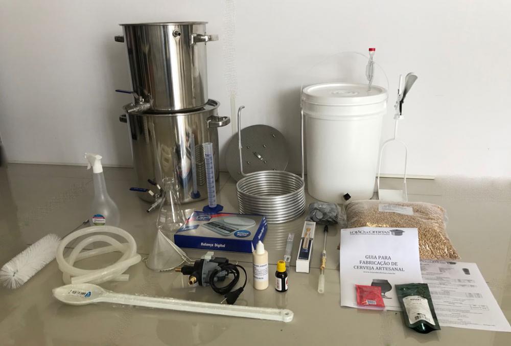 Kit Cervejeiro INOX para produção de 20 Litros de cerveja artesanal (com insumos) - 220v  - Lojão de Ofertas