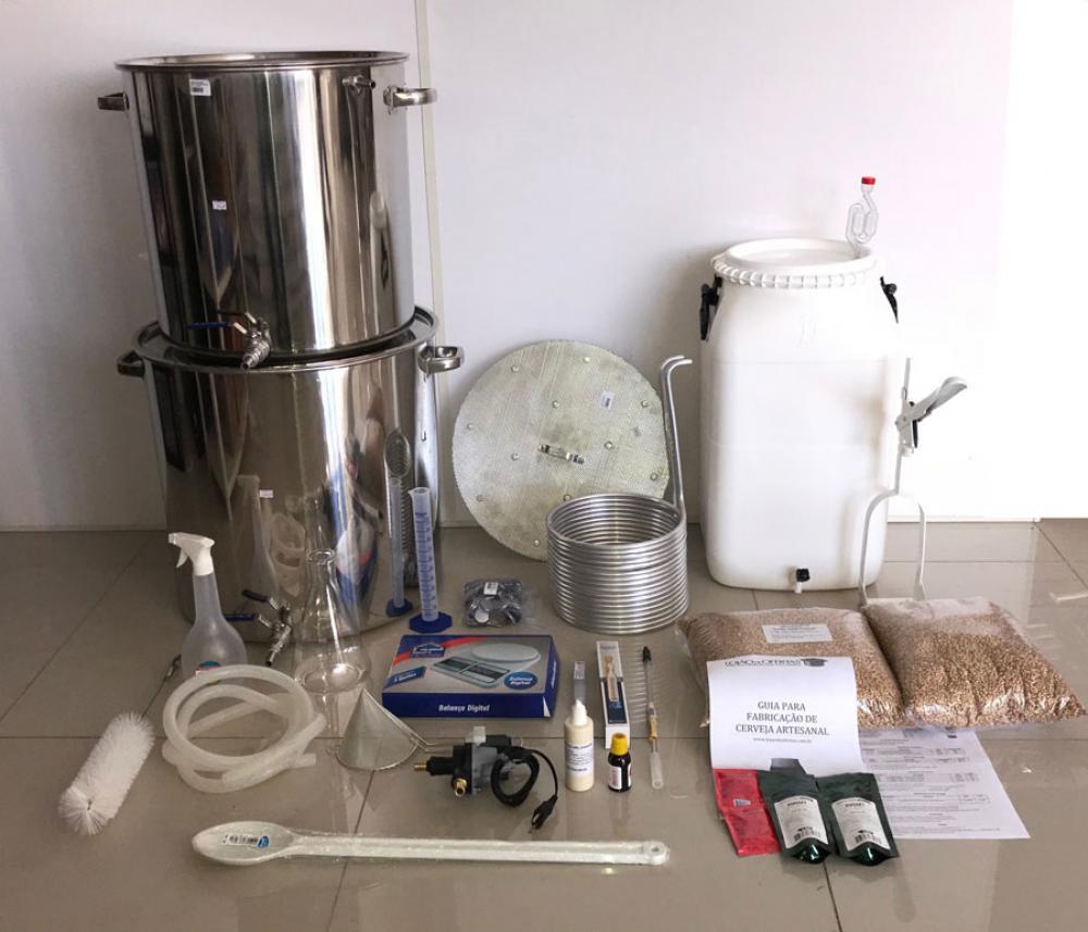 Kit Cervejeiro INOX para produção de 40 Litros de cerveja artesanal (com insumos) - 110v  - Lojão de Ofertas