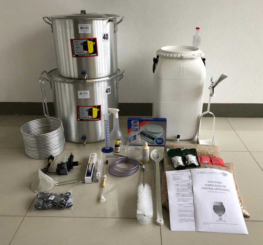 Kit Completo para Produção de 40L de Cerveja Artesanal (com insumos) - 220v  - Lojão de Ofertas
