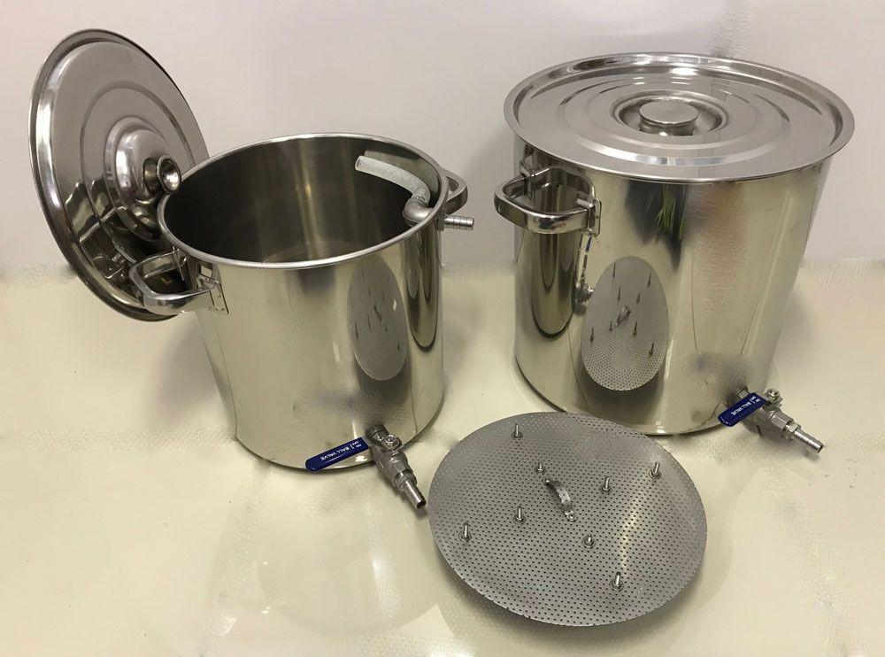 Kit de 2 Panelas Inox para Produção de 20 litros de Cerveja Artesanal  - Lojão de Ofertas