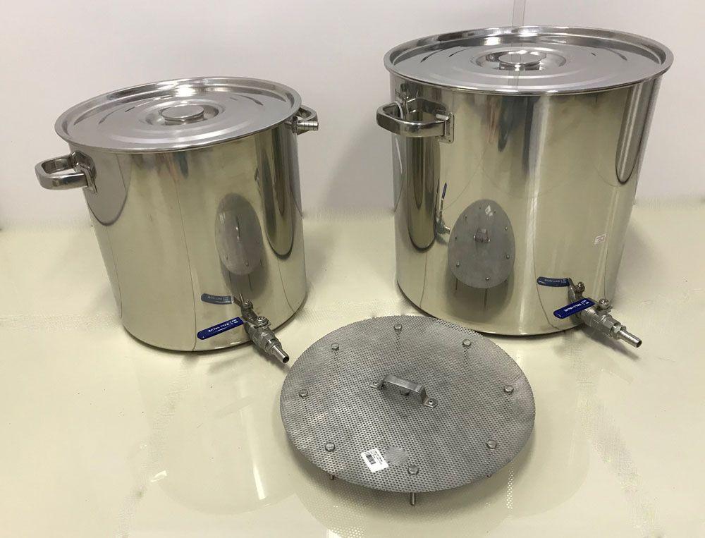 Kit de 2 Panelas Inox para Produção de 30 litros de Cerveja Artesanal  - Lojão de Ofertas