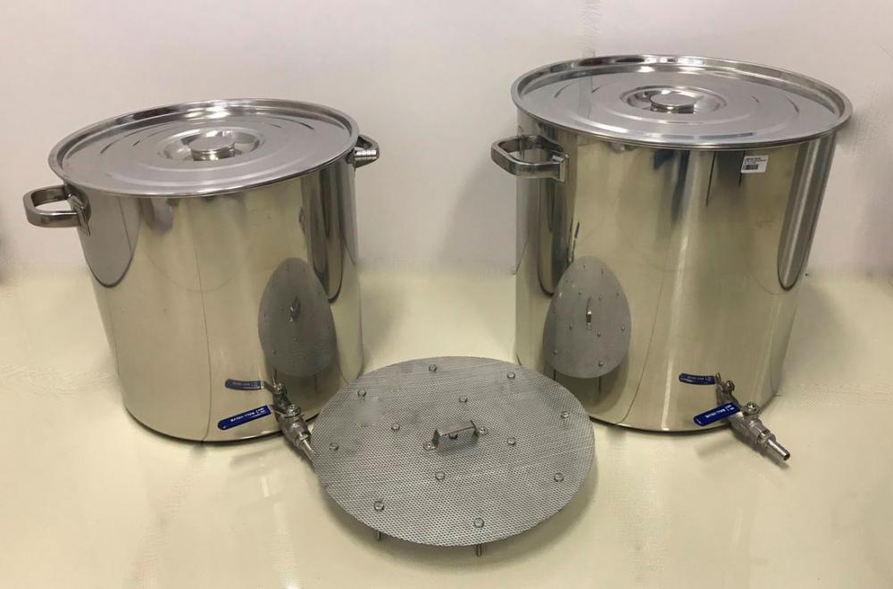 Kit de 2 Panelas Inox para produção de 45 litros de Cerveja Artesanal  - Lojão de Ofertas