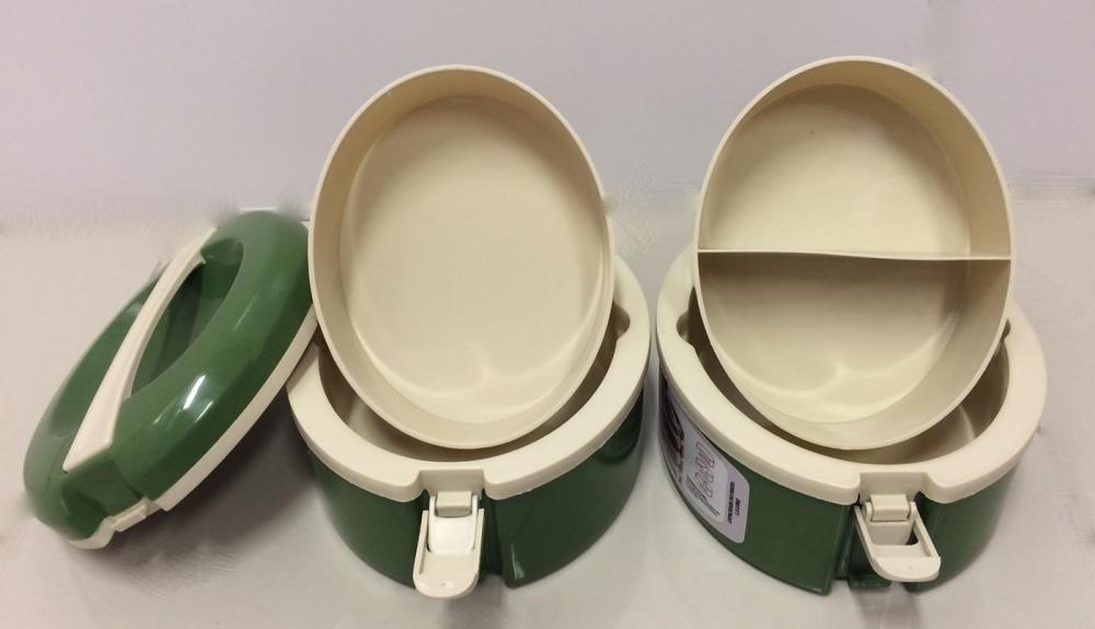Marmita Térmica Verde 2 andares - 1 sem divisória e 1 com 2 divisórias - Taumer  - Lojão de Ofertas