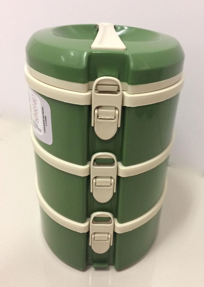 Marmita Térmica Verde 3 andares - 1 sem divisória, 1 com 2 divisórias e 1 com 3 divisórias - Taumer  - Lojão de Ofertas