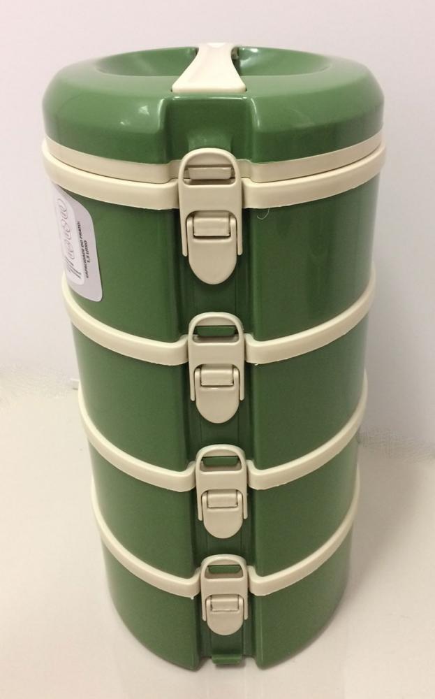 Marmita Térmica Verde 4 andares - 2 sem divisória, 1 com 2 divisórias e 1 com 3 divisórias - Taumer  - Lojão de Ofertas